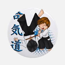 aikido_blue_round_ornament